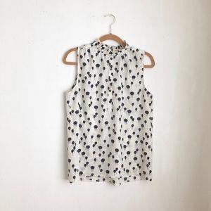 anthropologie white polka dot blouse sz:L balloons